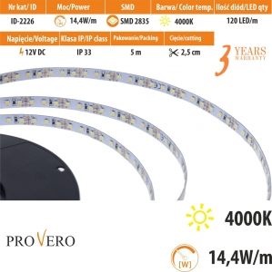 Taśma LED PRO 120 SMD 2835 IP20 -neutral