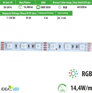 Taśma LED 60 SMD 5050 IP20 - RGB